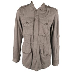 UNDERCOVER L Grey Solid Cotton Zip & Buttons Jacket