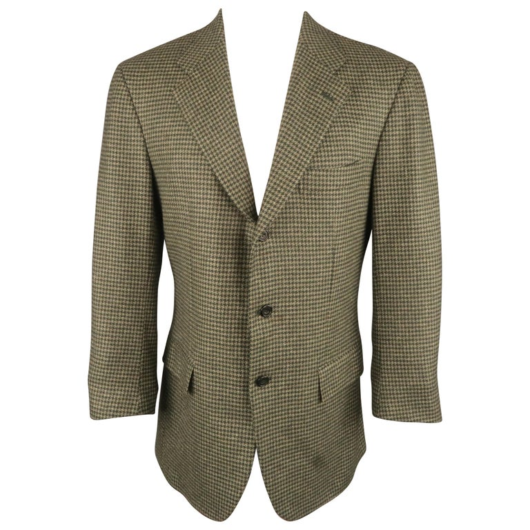 KITON 40 Regular Green Houndstooth Cashmere / Silk Notch Lapel Sport Coat For Sale