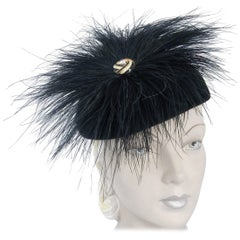 1960s Frank Olive Black Cashmere Hat with Feather Accent