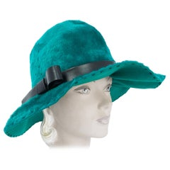 1970s Deborah Teal/Green rabbit Hat with Black Topstitch and Faux Leather Band