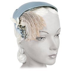 1950s Powder Blue Silk Satin Hat with Feather and Fruit Accent