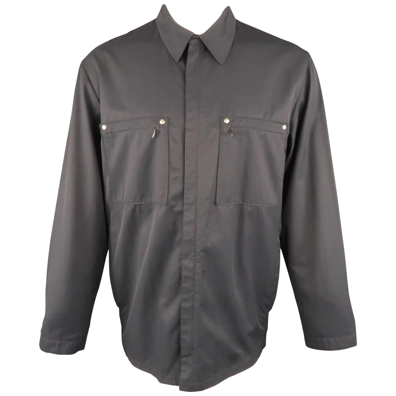 ALLEGRI 40 Navy Solid Cotton Blend Hidden Placket Zip Pocket Jacket