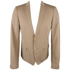 CoSTUME NATIONAL 40 Khaki Cotton / Linen Canvas Notch Lapel Sport Coat
