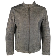 NEIL BARRETT L Indigo Navy Denim Biker Style Jacket