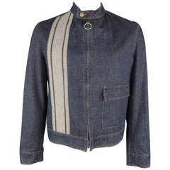 JOHN BARTLETT 42 Indigo Denim Stripe Zip Up Biker Style Jacket