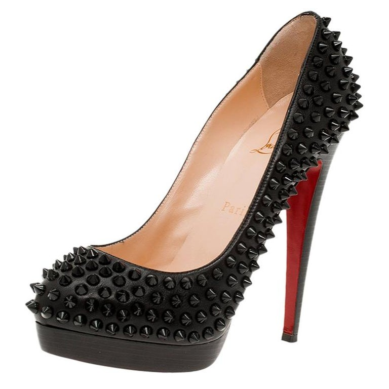 Christian Louboutin Black Leather Alti Spikes Platform Pumps Size 37.5 For Sale