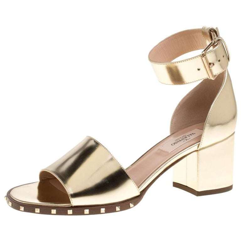 7476189af8a Valentino Gold Leather Soul Rockstud Ankle Strap Block Heel Sandals Size 37  For Sale