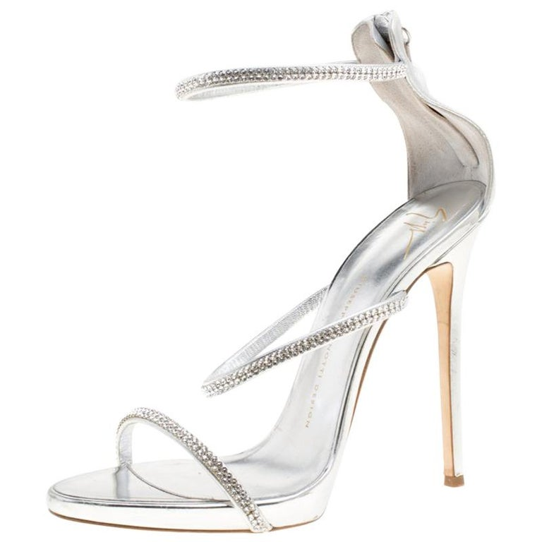 ef649bd32e5ed Giuseppe Zanotti Leather Crystal Embellished Harmony Ankle Strap Sandals  Size 41 For Sale