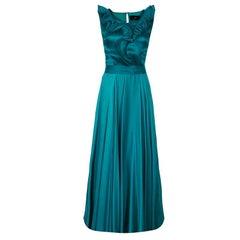 CH Carolina Herrera grün Rüsche Seide Kleid M