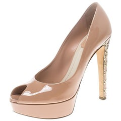 Dior Blush Pink Patent Leather Peep Toe Cannage Heel Platform Pumps Size 38.5