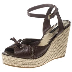 Louis Vuitton Brown Leather Ankle Strap Espadrilles Wedges Sandals Size 38.5
