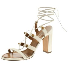 Valentino White Leather Rockstud Block Heel Gladiator Lace Up Sandals Size 39