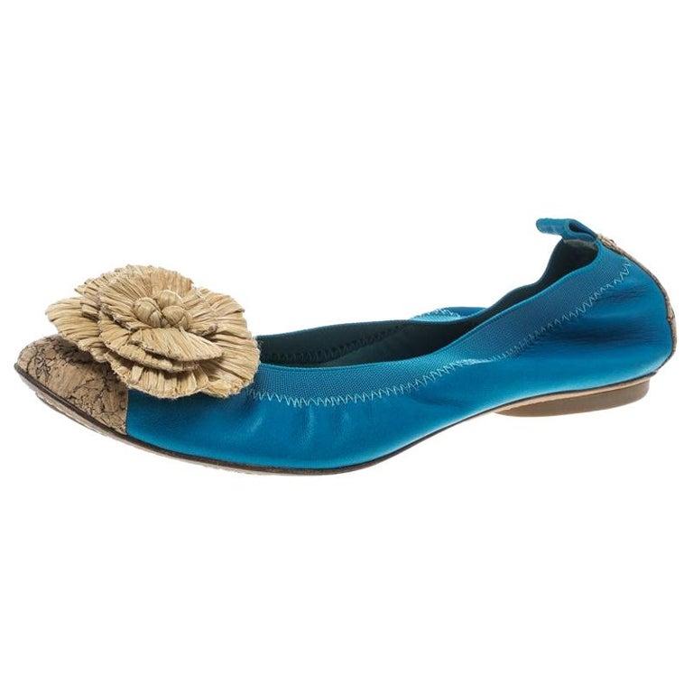 40ec064c2c511 Chanel Turquoise Leather Cork Cap Toe and Raffia Camelia Ballet Flats Size  40.5 For Sale