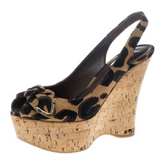 Louis Vuitton Stephen Sprouse Savanna Platform Slingback Wedge Sandals Size 37