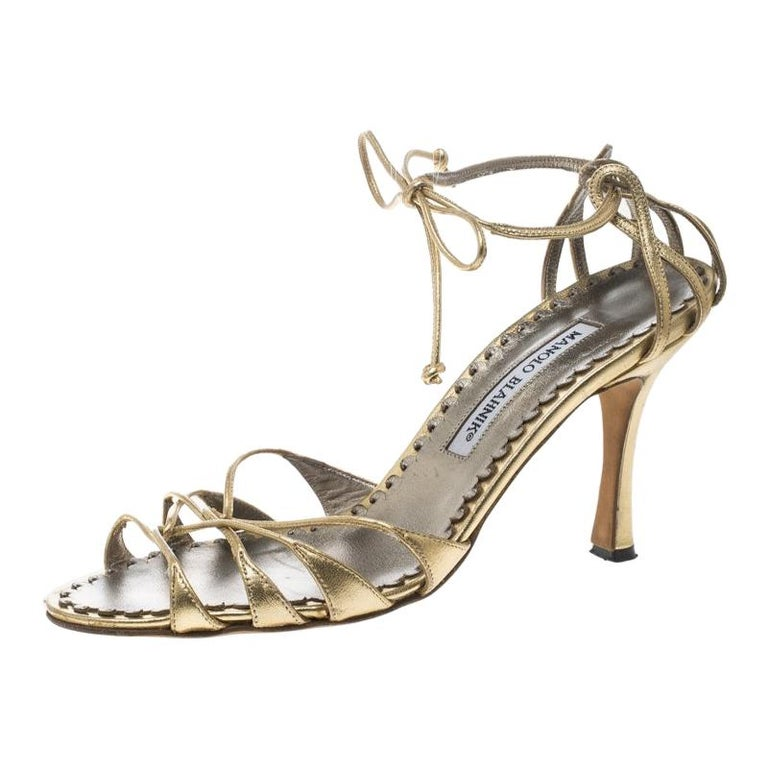 15894a6a5d0fc Manolo Blahnik Metallic Gold Leather Strappy Ankle Wrap Sandals Size 38 For  Sale