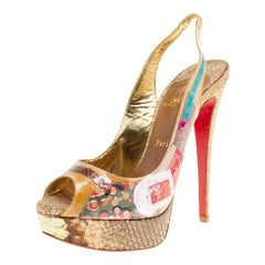 Christian Louboutin PVC Eco Trash Peep Toe Platform Slingback Sandals Size 39