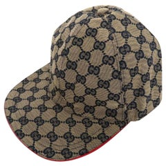 Gucci Blue Navy and Red Monogram Baseball Cap 227984 Hat