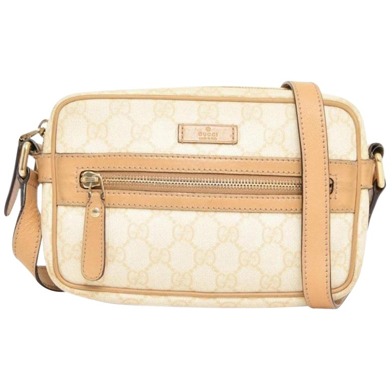 362f656eb8498b Gucci Supreme Gg 227947 Beige Coated Canvas Cross Body Bag For Sale ...