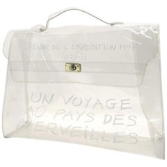 Hermès Kelly Clear Souvenir De L'exposition 229080 White Vinyl Satchel