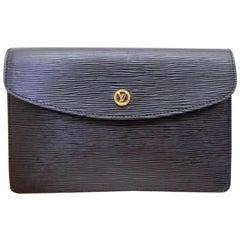 Louis Vuitton Montaigne Pochette (Ultra Rare) Noir 229147 Black Leather Clutch