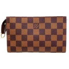 Louis Vuitton Poche Damier Ebene Zip Pouch 227809 Brown Coated Canvas Clutch