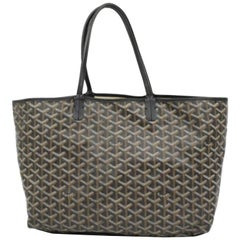Goyard Goyardine Chevron St Louis 230348 Black Coated Canvas Tote