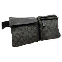 Gucci Charcoal Monogram Gg Belt Bag-230352 Black Canvas Cross Body Bag