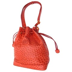 23f288e9d52aa5 Gucci Drawstring Bucket Hobo 227959 Red Ostrich Leather Shoulder Bag