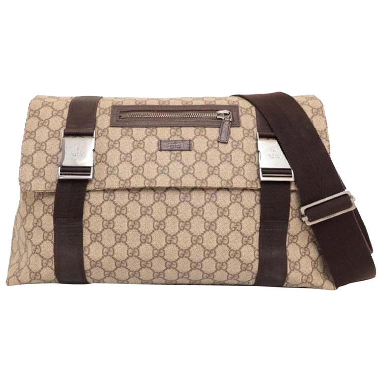 35426af2dfe9 Gucci Monogram Gg Supreme Messenger 227763 Brown Coated Canvas Cross Body  Bag For Sale
