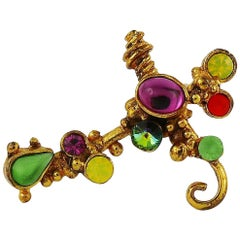 Christian Lacroix Vintage Jewelled Cross Brooch