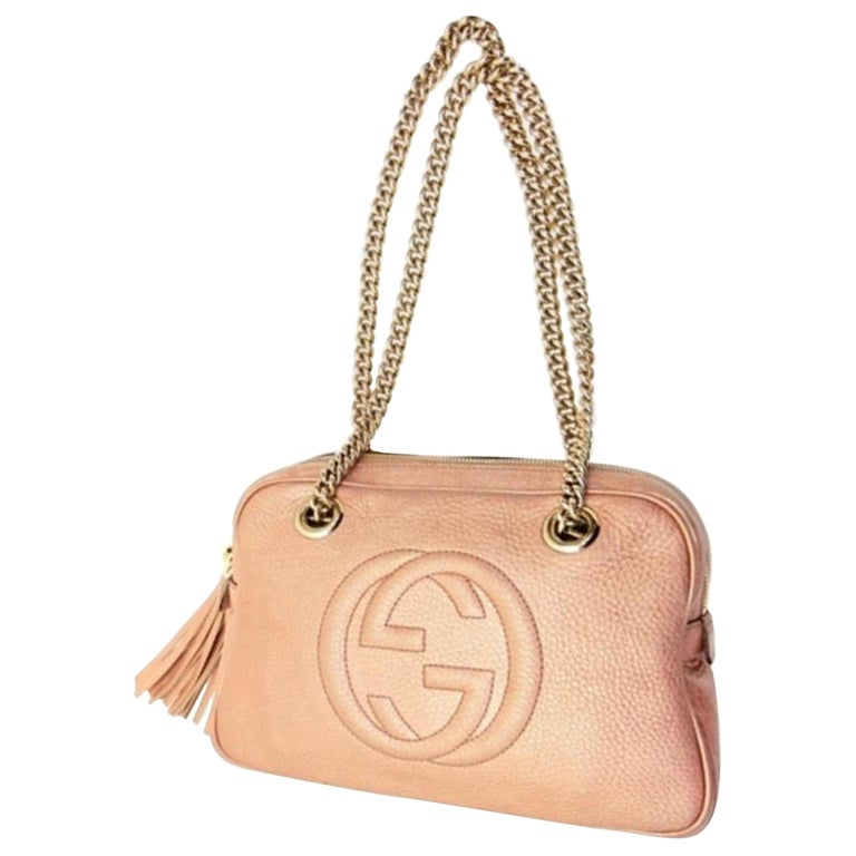 4a4f1f1d5d429 Gucci Soho (Ultra Rare) Chain Camera 227986 Pink Leather Shoulder Bag For  Sale