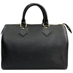 1998 Louis Vuitton Black Epi Leather Speedy 25 Bag