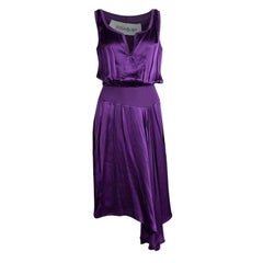 Yves Saint Laurent Purple Satin Rib Trim Sleeveless Dress M