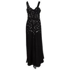 Dior Black Silk Chiffon Crystal Embellished Gown S