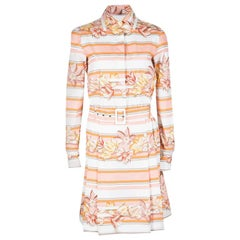 Salvatore Ferragamo Multicolor Printed Cotton Belted Long Sleeve Shirt Dress S