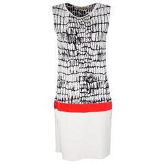 Giambattista Valli Jacquard Knit Contrast Waist Detail Sleeveless Dress