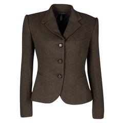 Ralph Lauren Brown Cashmere Contrast Lined Blazer S