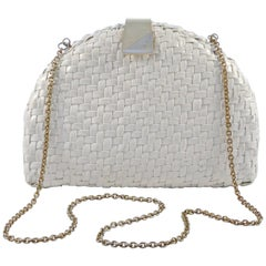 British Hong Kong Plastic Wicker Shoulder Bag, Gold and Silver Tone Clasp, 1970s