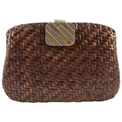 Rodo Italian Glazed Mid Brown Wicker Clutch Bag with Gold and Silver Tone Clasp
