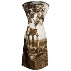Dolce and Gabbana Spring'14 Digital Greek Temple Print Silk Dress M