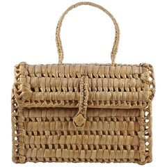 Hand Woven Wicker Raffia Bag with Button and Loop Fastening