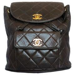 Rare Chanel Vintage Brown Backpack