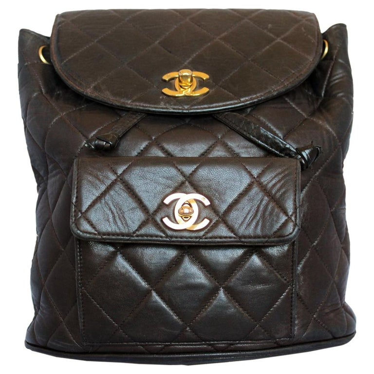 01717b6a1b8eed Rare Chanel Vintage Brown Backpack at 1stdibs
