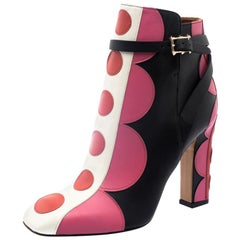 Valentino Multicolor Leather Polka Dot Ankle Boots Size 37