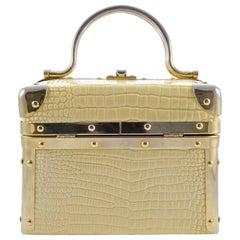Borsa Bella Italy Cream Yellow Train Box Bag with Gold Tone Trim, circa 1980s