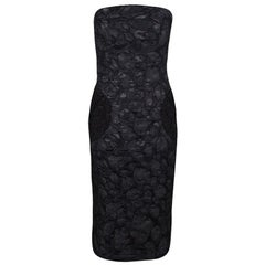 Marc Jacobs Black Polka Dot Lace Pocket Detail Strapless Dress L
