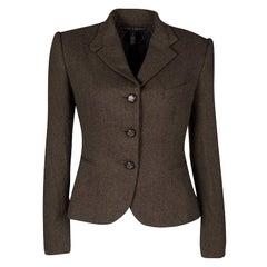 Ralph Lauren Brown Cashmere Contrast Lined Blazer M