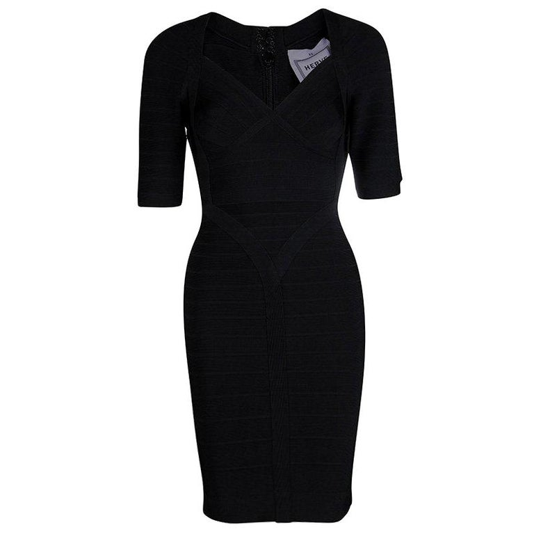 d7aa40b0d4a6 Herve Leger Black Knit Short Sleeve Lexi Bandage Dress XS For Sale ...