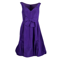 Oscar De La Renta Purple Bow Detail Sleeveless Dress M