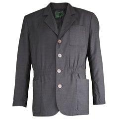 Jean Paul Gaultier Mens Vintage Nipped Waist Black Worsted Wool Blazer, 1990s